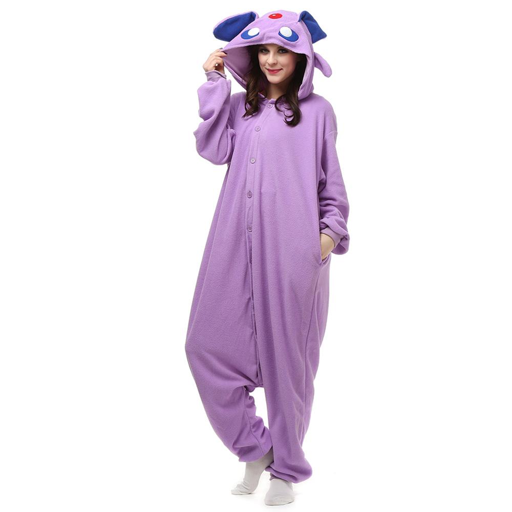 Espeon Kigurumi Fantasia Cosplay Lã Pijamas Onesie