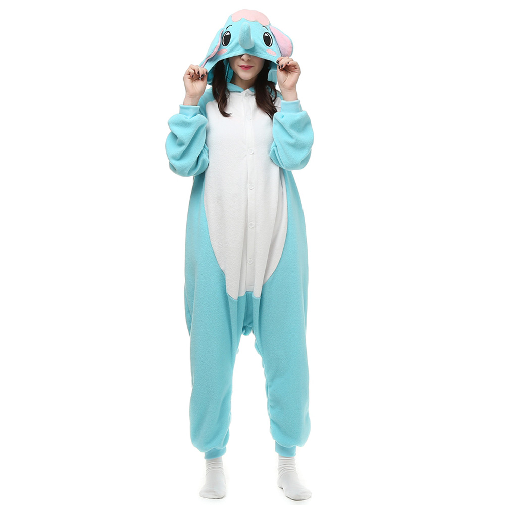 Elefant Kigurumi Kostüme Unisex Vlies Pyjama Gymnastikanzug/Einteiler