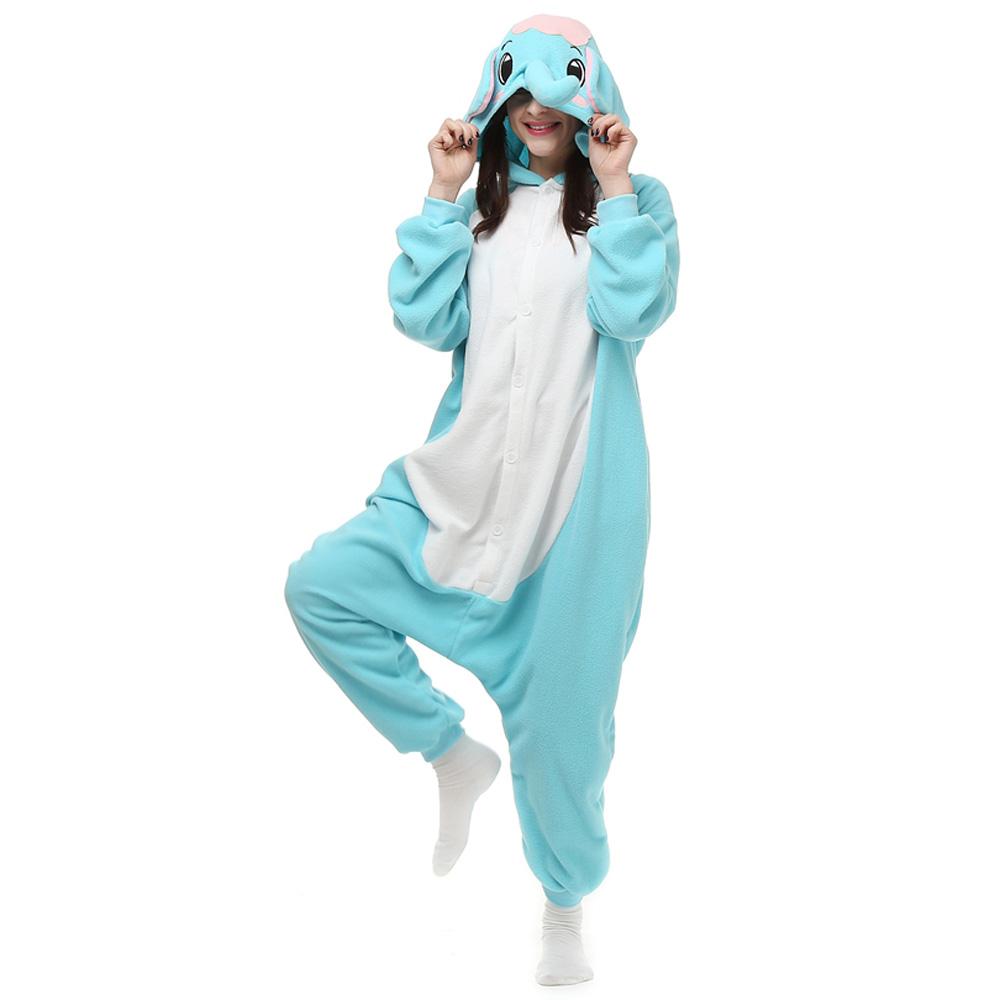Olifant Kigurumi Kostuum Unisex Vlies Pyjama Onesie