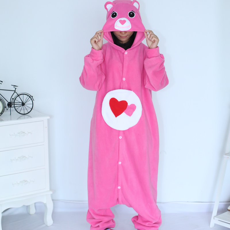 Adult Pajamas Animal Pink Teddy Bear Pajamas Polar Flleece Pajamas Kigurumi