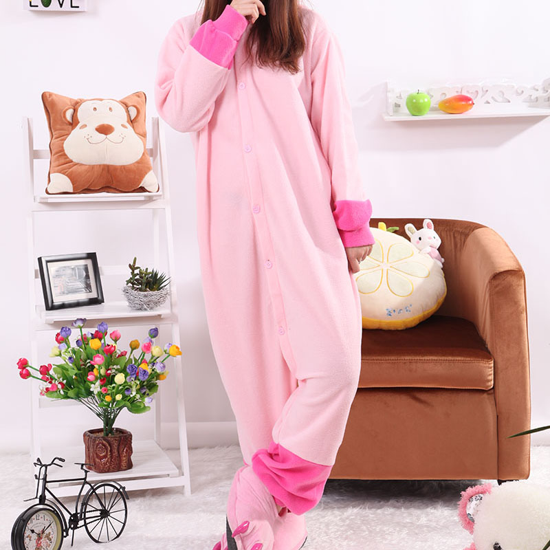 Adult Pajamas Animal Pink Stitch Polar Flleece Kigurumi Pajamas