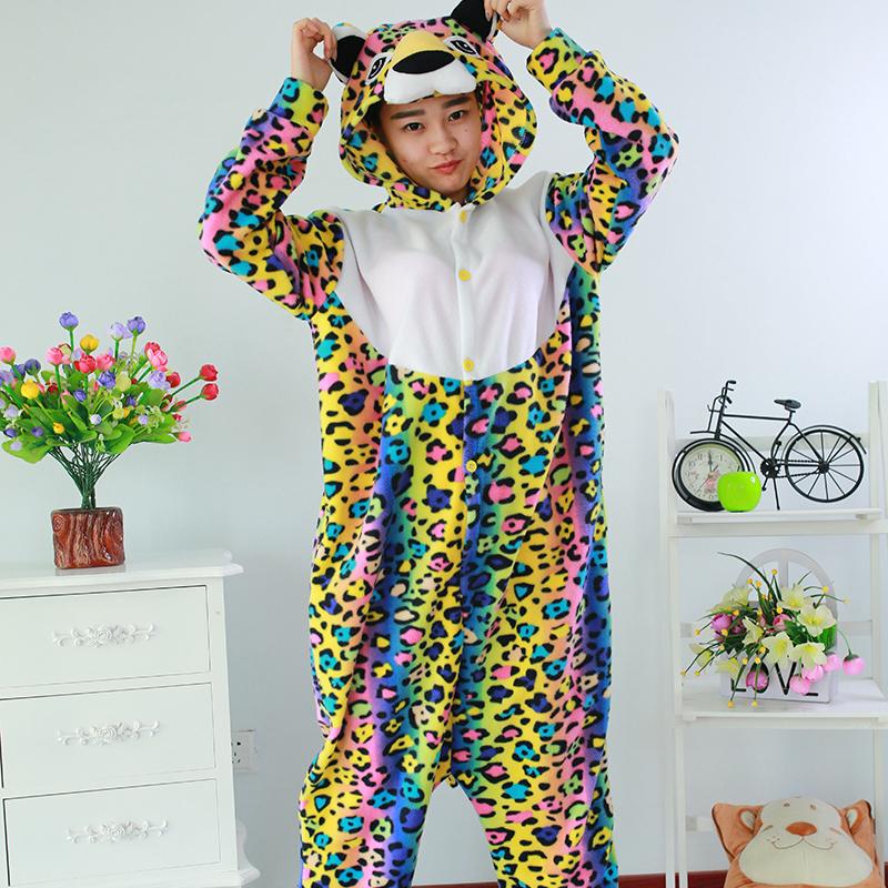 New Stlay Adult Pajamas Animal Leopard Polar Flleece Kigurumi Pajamas