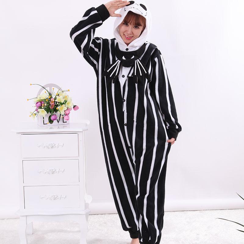 New Stlay Adult Pajamas Jack Skeleton Polar Flleece Kigurumi Pajamas