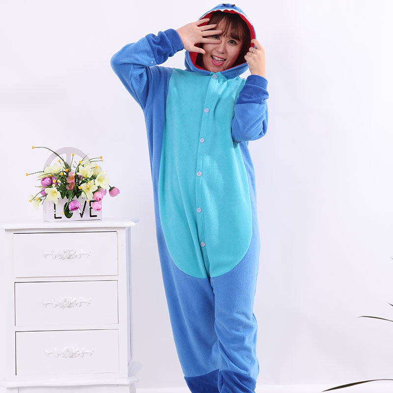 Pajamas Animal Blue Stitch Polar Flleece Kigurumi Pajamas