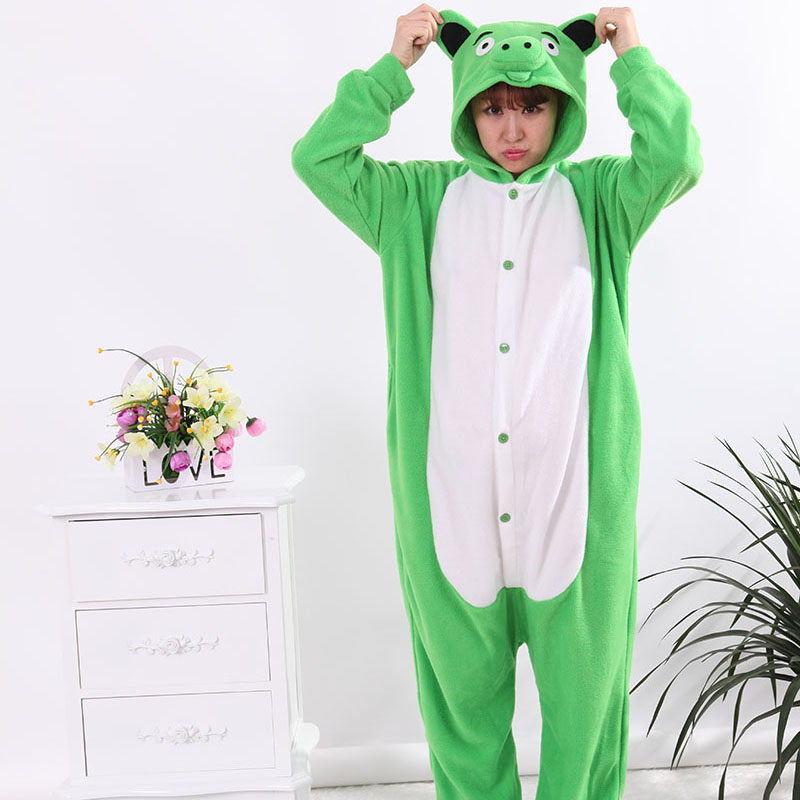New Stlay Adult Pajamas Animal Green Paper Pig Polar Flleece Kigurumi Pajamas