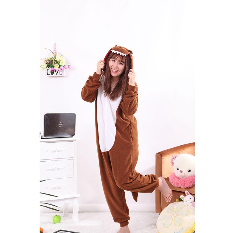 New Stlay Adult Pajamas Animal Brown Dinosaur Polar Flleece Kigurumi Pajamas