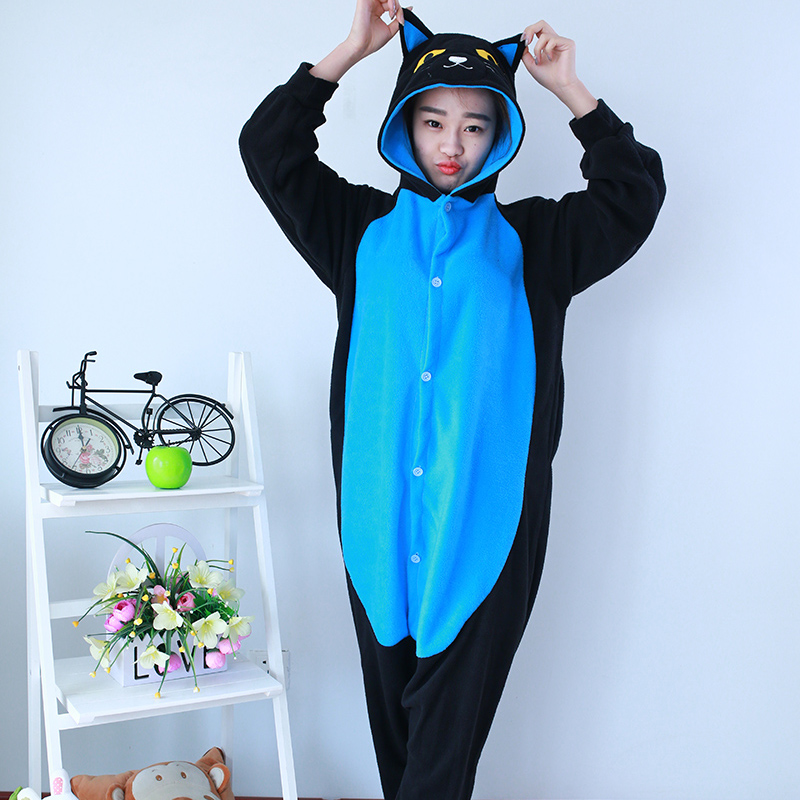 New Stlay Adult Pajamas Animal Blue Midnight Cat Polar Flleece Kigurumi Pajamas