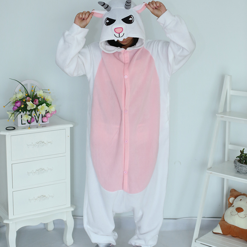 New Stlay Adult Pajamas Animal Goat Polar Flleece Kigurumi Pajamas