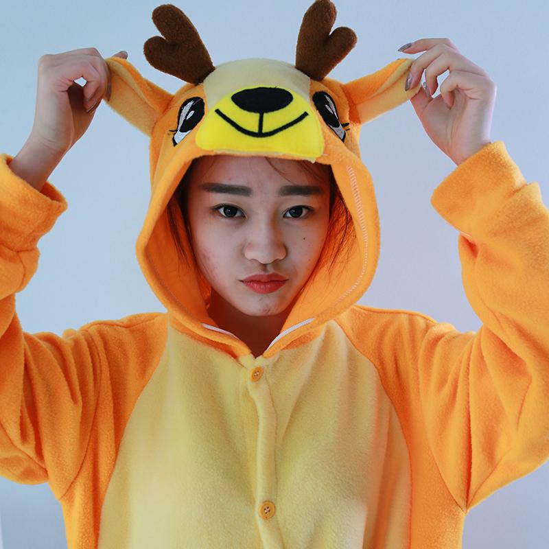 New Stlay Adult Pajamas Animal Christmas Deer Polar Flleece Kigurumi Pajamas