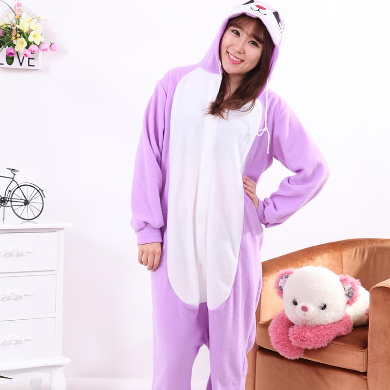 New Stlay Adult Pajamas Animal Purple Rabbit Polar Flleece Kigurumi Pajamas