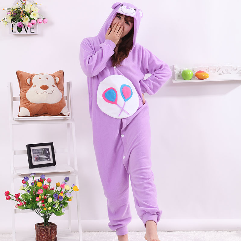 New Stlay Adult Pajamas Animal Purple Candy Bear Polar Flleece Kigurumi Pajamas