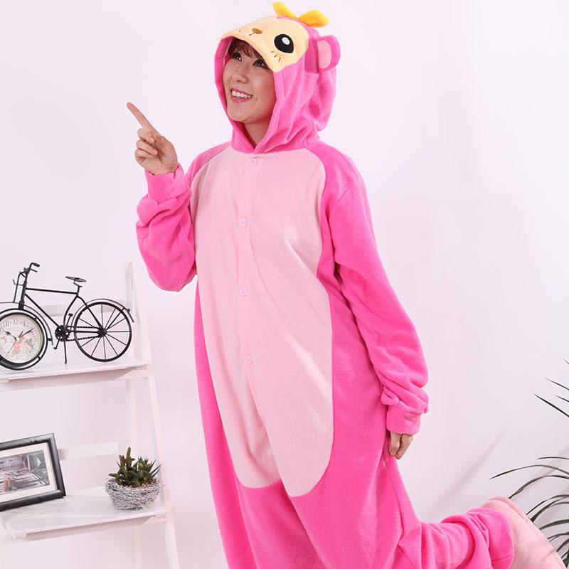 New Stlay Adult Pajamas Animal Pink Monkey Polar Flleece Kigurumi Pajamas