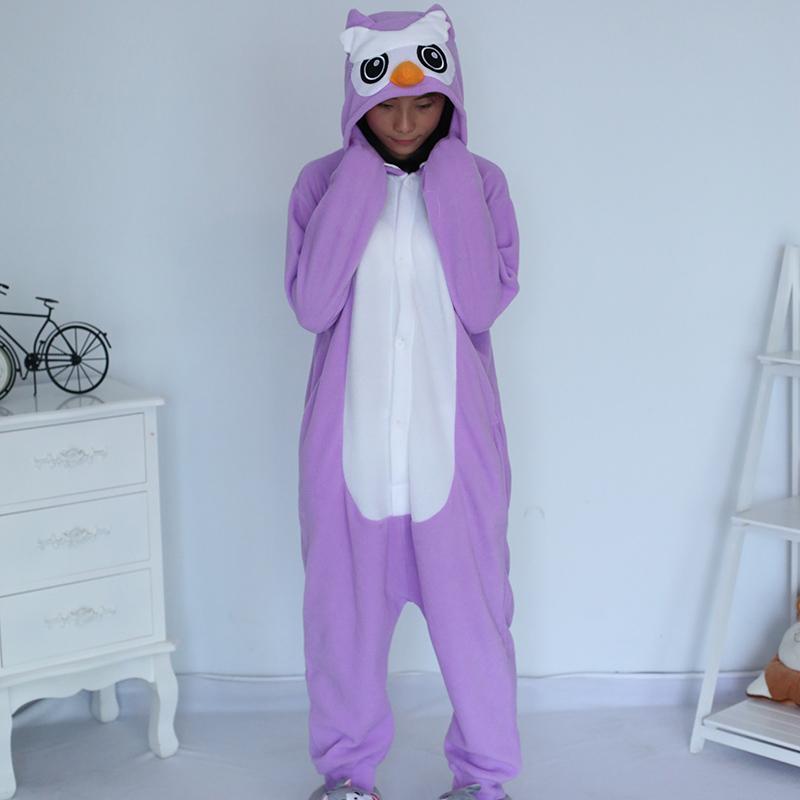 New Stlay Adult Pajamas Animal Purple Owl Polar Flleece Kigurumi Pajamas
