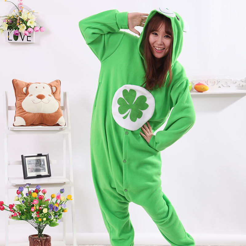 New Stlay Adult Pajamas Animal Green Lucky Bear Polar Flleece Kigurumi Pajamas