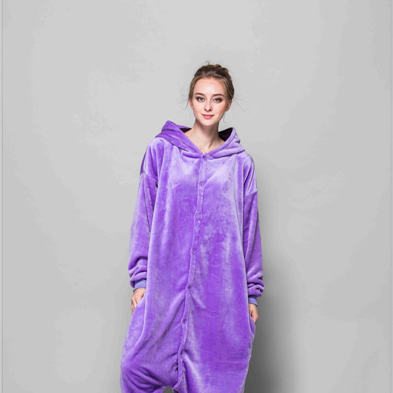 Adult Pajamas Animal Purple Elf Flannel Kigurumi Pajamas