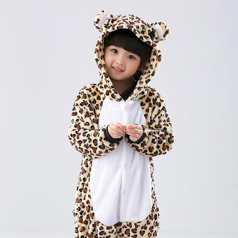 Child Animal Pajamas Leopard Bear Flannel Kigurumi Pajamas