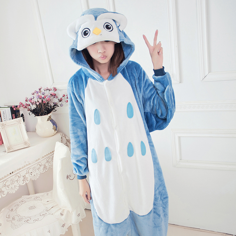 Adult Animal Pajamas Owl Flannel Kigurumi Pajamas