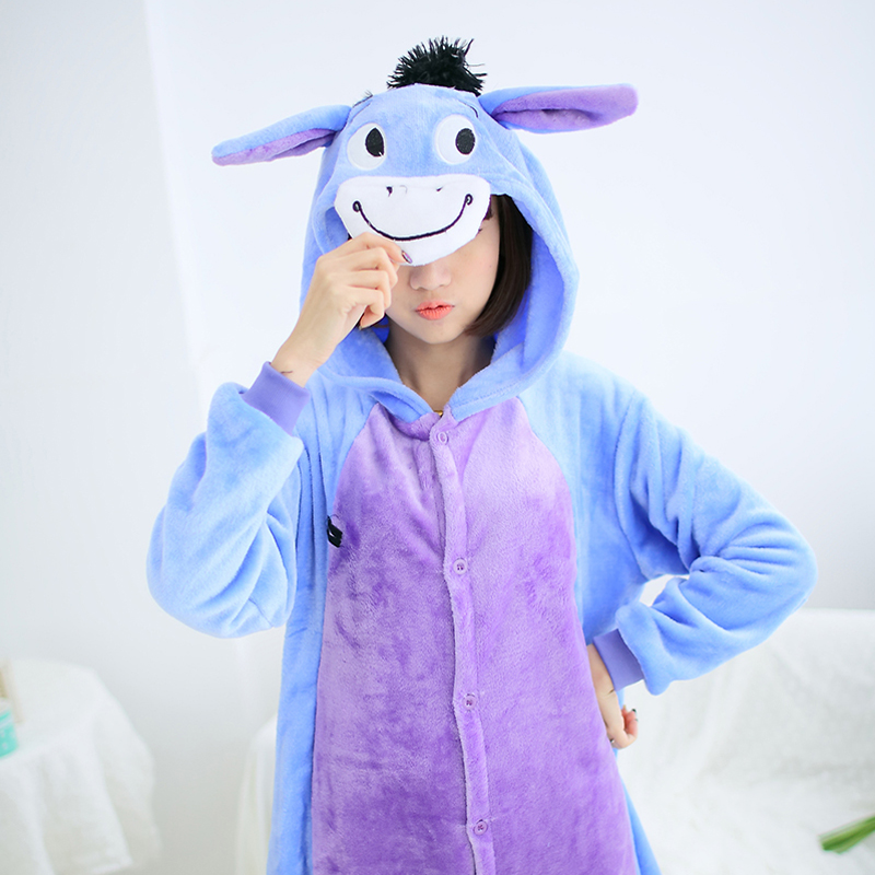 Adult Animal Pajamas Donkey Flannel Kigurumi Pajamas
