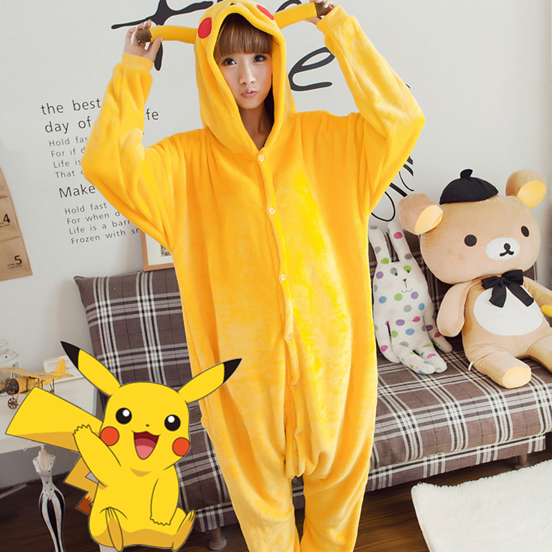 Adult Animal Pajamas Pikachu Flannel Kigurumi Pajamas
