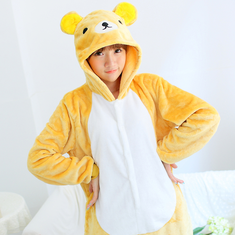 Adult Animal Pajamas Easily Bear Flannel Kigurumi Pajamas