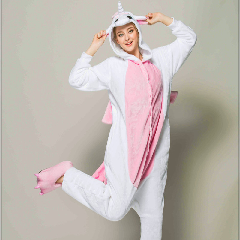 Adult Animal Pajamas Pink Unicorn Flannel Kigurumi Pajamas