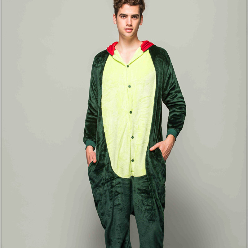 Adult Animal Pajamas Green Dinosaur Flannel Kigurumi Pajamas