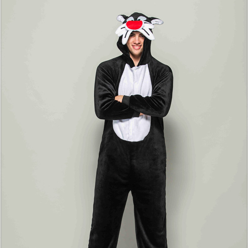 Adult Animal Pajamas Tom Cat Flannel Kigurumi Pajamas