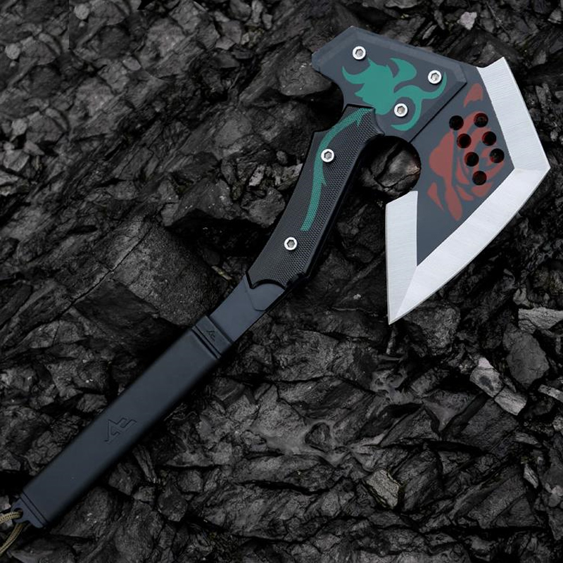 Outdoor Multifunction Self-defense Axe 420 Steel Colorful Rose Pattern