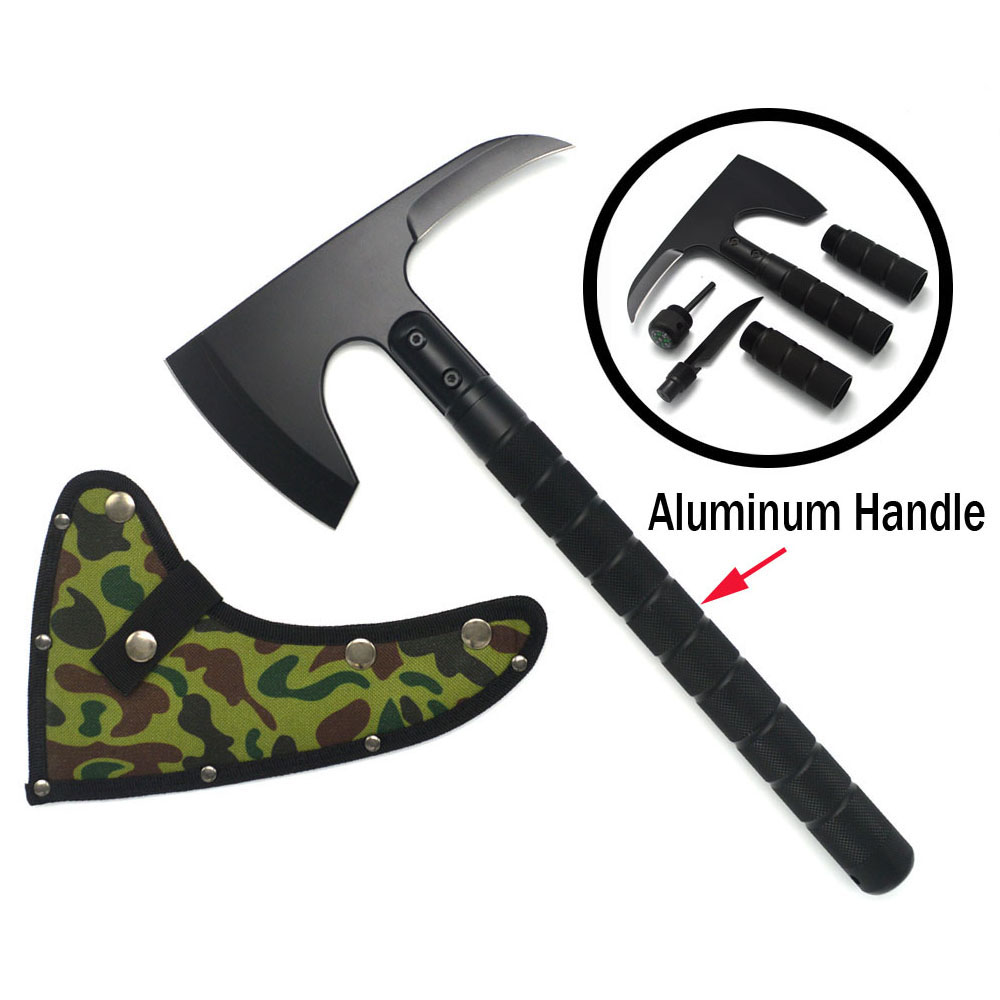 New Outdoor Camping Axe Aluminum Handle Tomahawk Fire Rescue Survival Multifunct