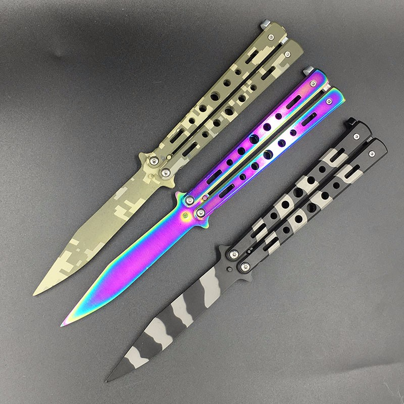 Butterfly in Knife Training Knife Titanium Stainless Steel Knife not Sharpened Great Gift