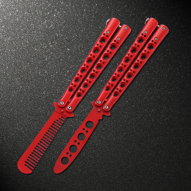 Stainless Steel Knife Butterfly with Practice Butterfly Training Knife Red