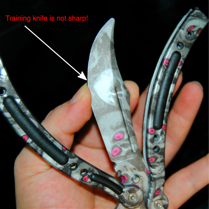 CS GO Butterfly in Knife Training Stainless Steel Butterfly Knife no Sharp