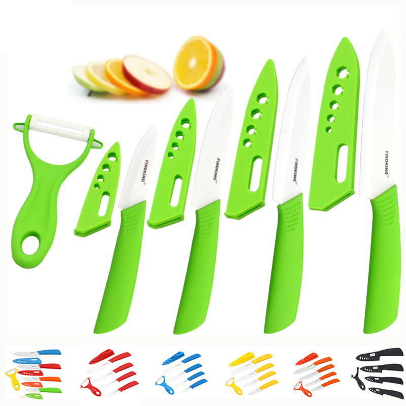 "Beauty Gifts Zirconia kitchen green color knife set Ceramic Knife Set 3"" 4"" 5"" 6"" inch+peeler+Covers"
