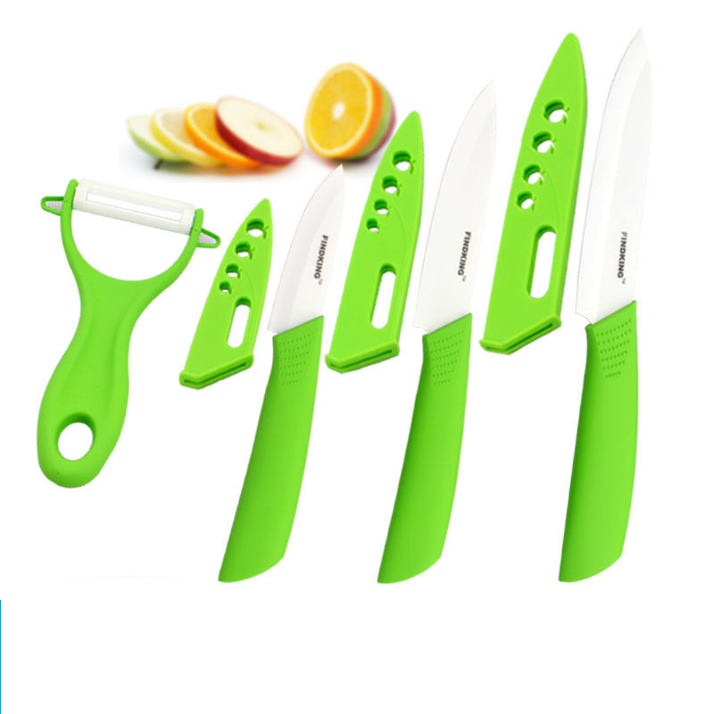 Four-piece ceramic knife set 3 4 5 inch+peeler+Covers