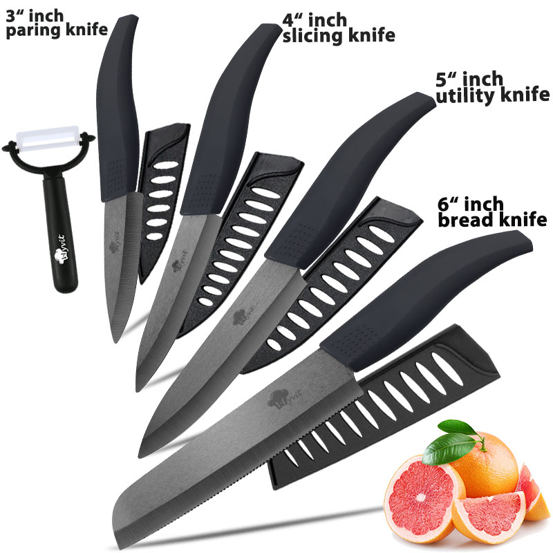 Ceramic Knife Zirconia 3 4 5 inch + 6 inch Kitchen Serrated Bread Knife + Peeler