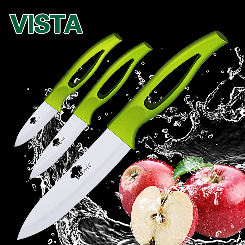 Ceramic Knives 3 4 5 inch fruit utility slicing Knives Green Handle White Blade