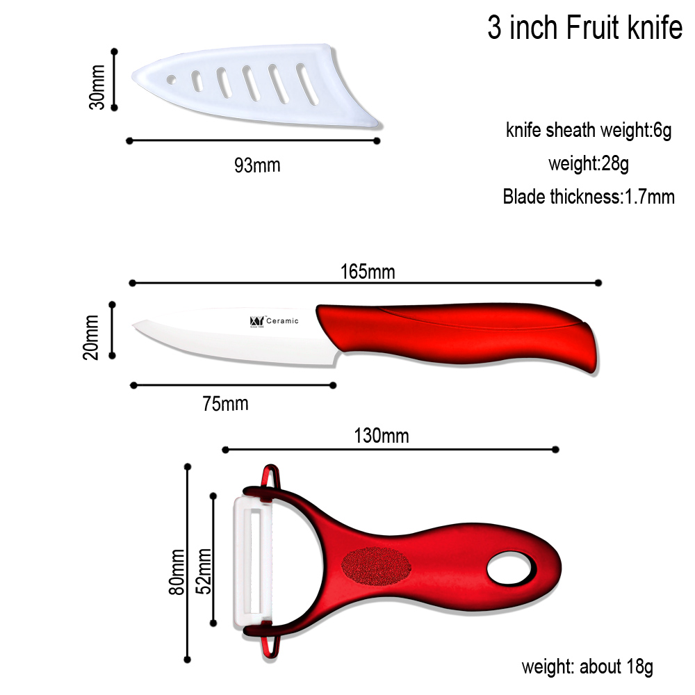 Three Piece Ceramic Knives Gift Set Plus Peeler And Red Acrylic Knives Hold
