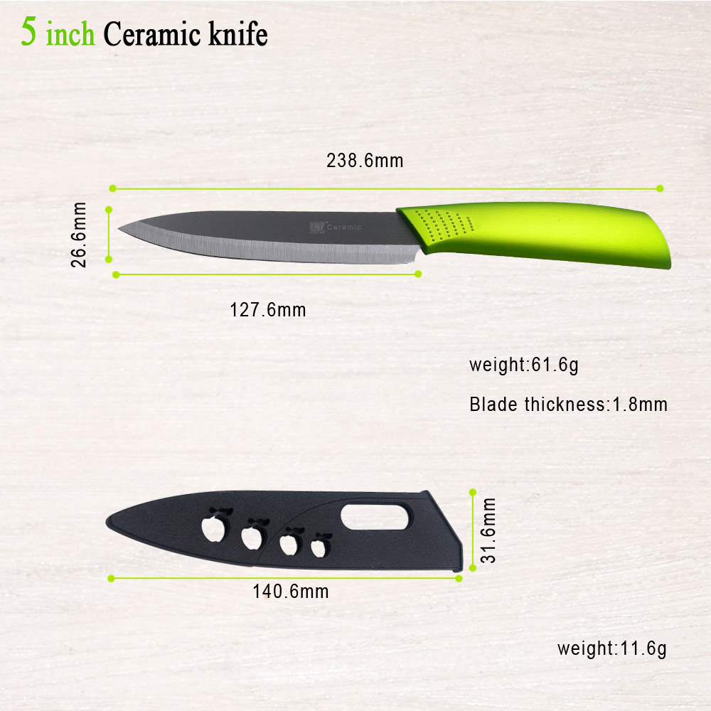 Ceramic Knife Set 3 4 5 6 Inch Black Blade Green Handle New Zirconi