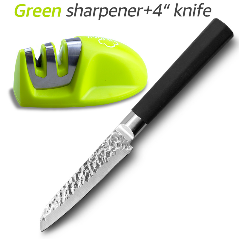 Stainless Steel kitchen Knife with Sharpener Set 4 inch 3Cr13 440C Fruit Knives