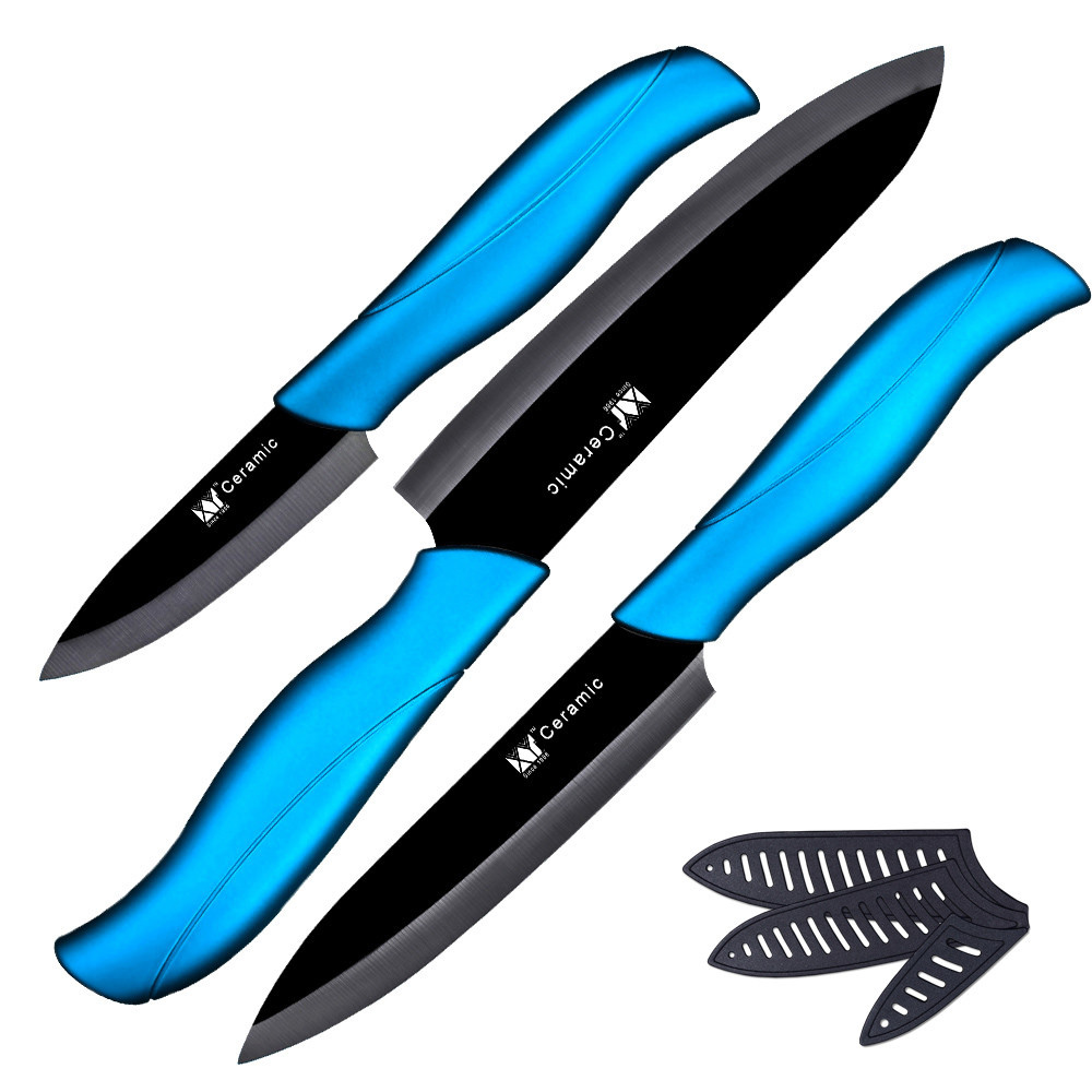 New ceramic knife 3 inch paring 4 inch utility 5 inch slicing knife with black