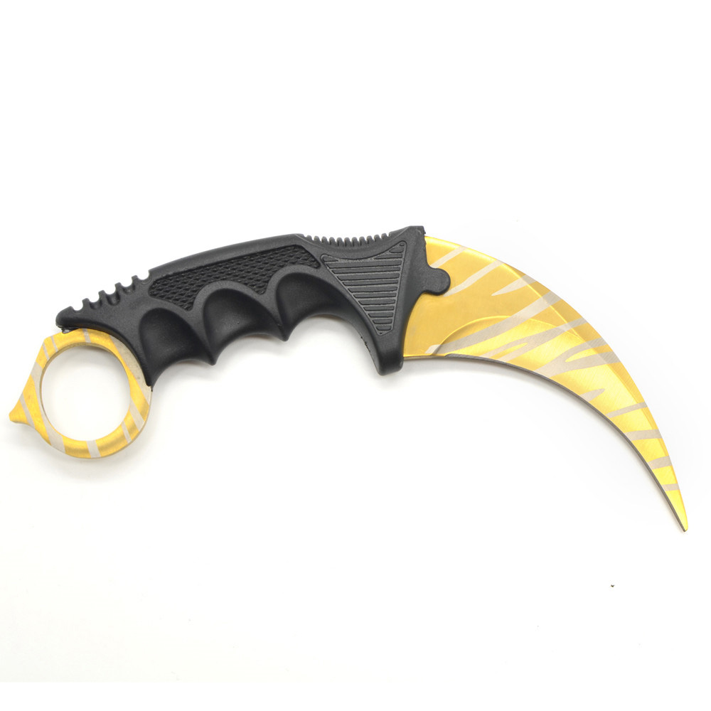 Stainless Blade Gold Pattern CSGO Karambit Outdoor Knives Counter Strike