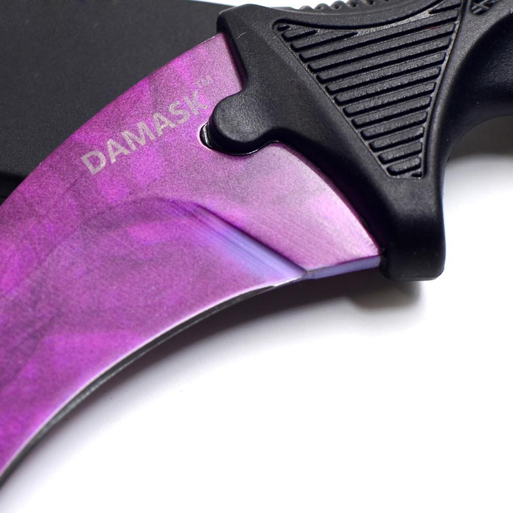 CSGO Counter Strike Karambit Knife Purple Blade Non-Slip Handle Outdoor