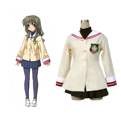Deluxe Clannad Ibuki Fūko 1ST High School Female Winter Uniform Green Badge Costumes
