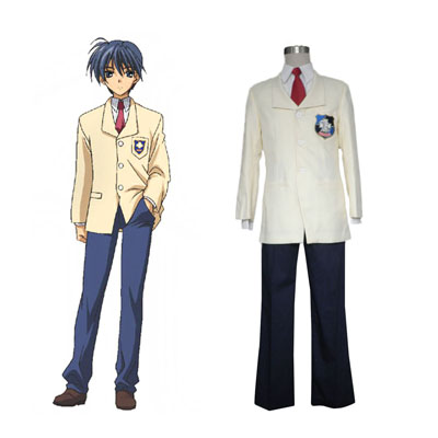 Deluxe Clannad Tomoya Okazaki High School Male Winter Uniform Costumes