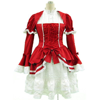 De lujo Disfraces de Lolita Cultura Red and Blanco Sleeveless Corto Vestidos 3RD Cosplay