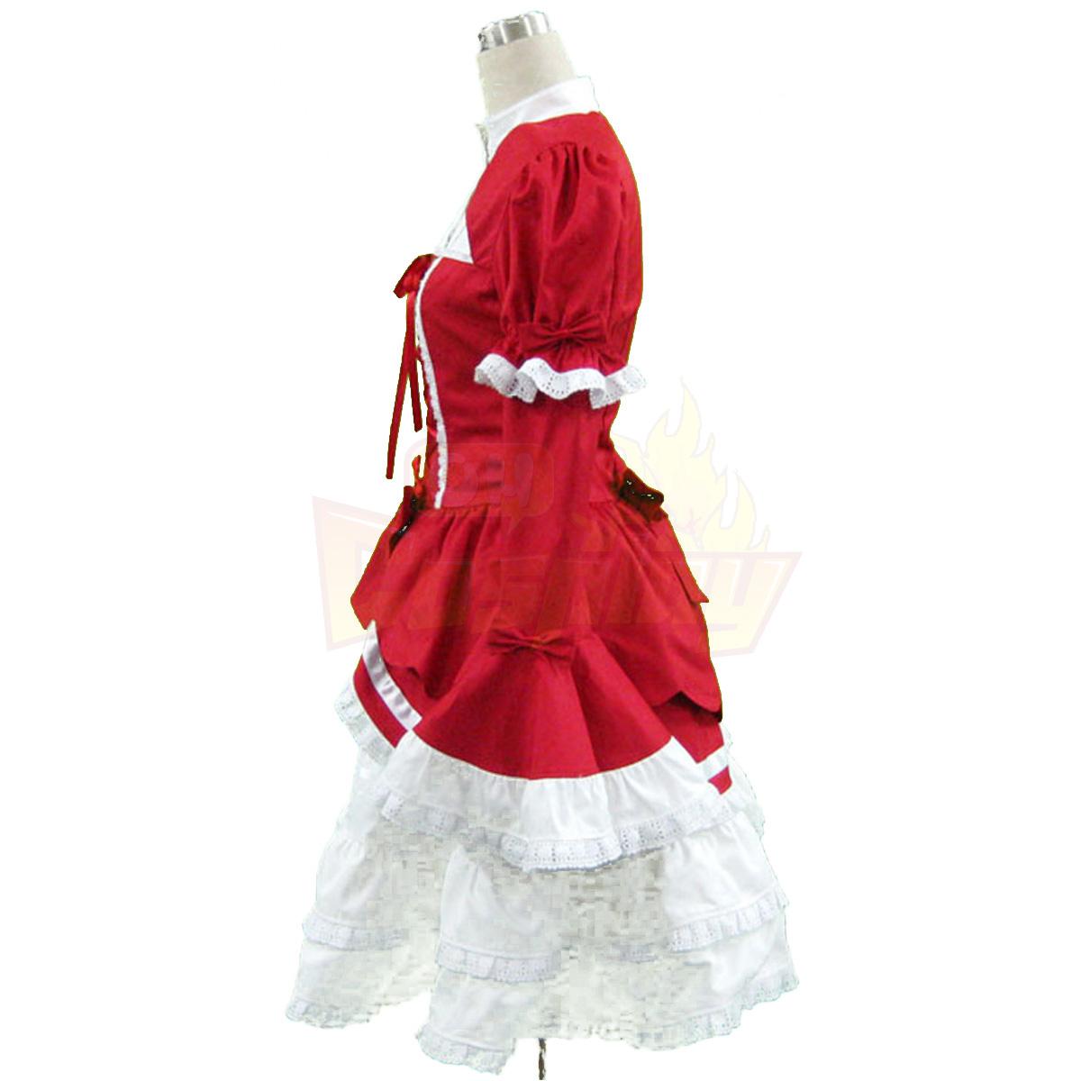 호화로운 로리타 문화 빨간와 화이트 민소매 짧은 드레스 3 코스프레