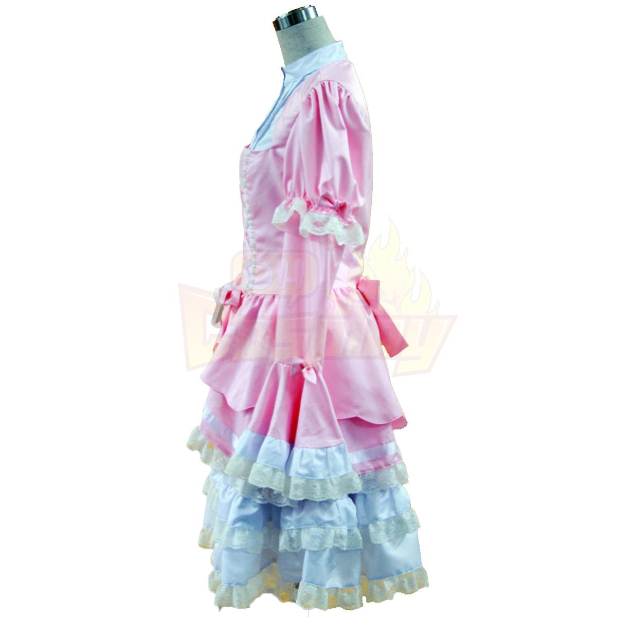 ديلوكس لوليتا الثقافة الوردي والأبيض أكمام فساتين قصيرة كوزبلاي