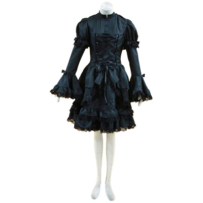 De lujo Disfraces de Lolita Cultura Black and Blanco Sleeveless Corto Vestidos Cosplay
