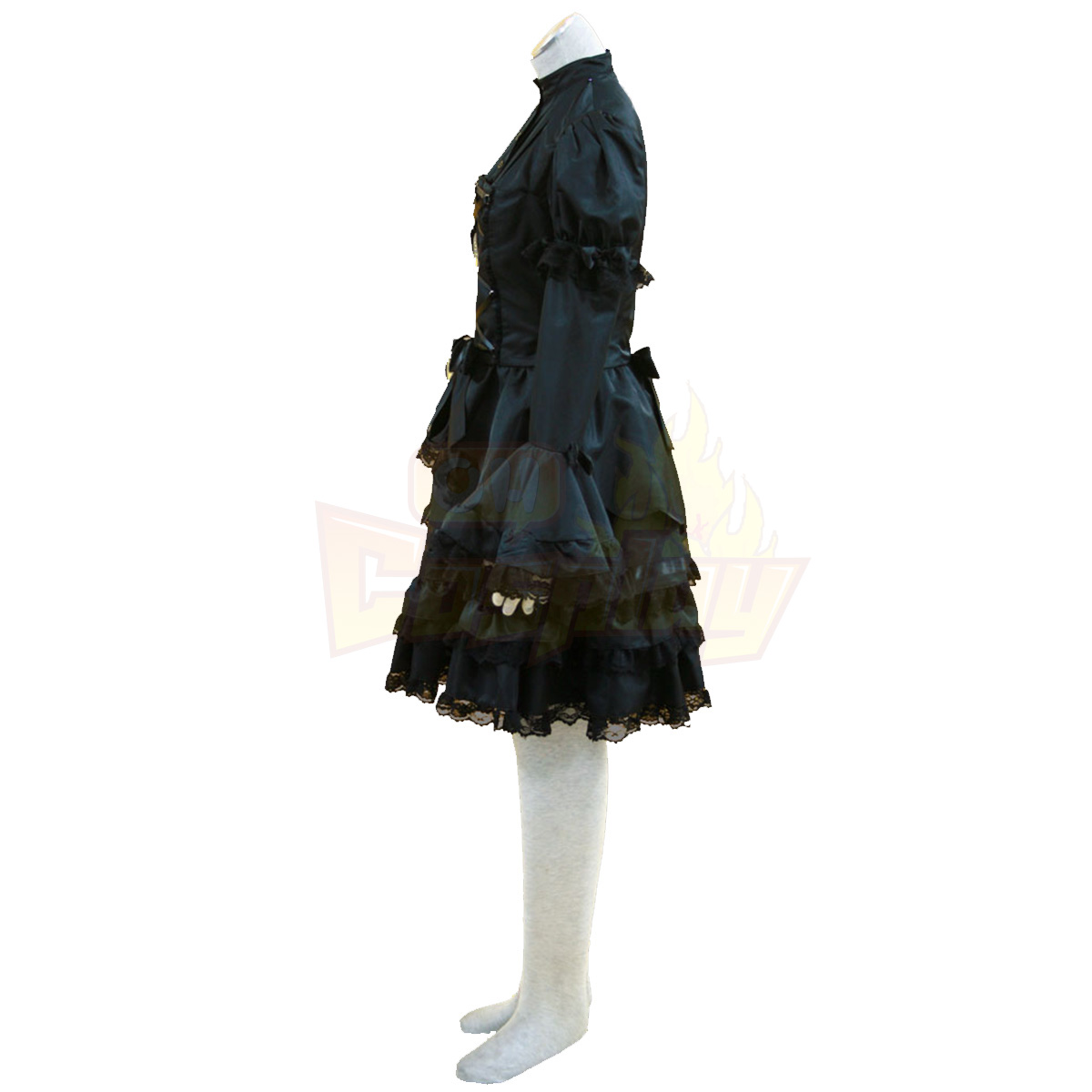 호화로운 로리타 문화 검은 및 화이트 민소매 짧은 드레스 코스프레