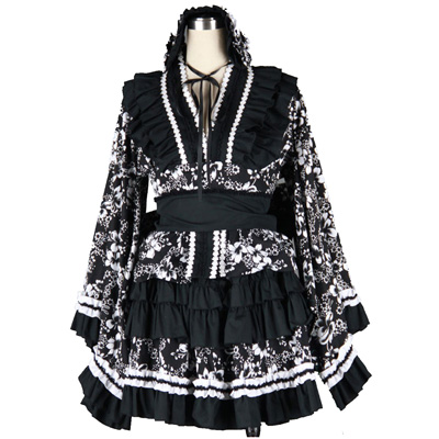 Deluxe Lolita Culture Black Cloth Dresses Kimono Cosplay Costumes